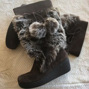 Report Ellie Faux Fur Leather Brown Wedge Boots 7